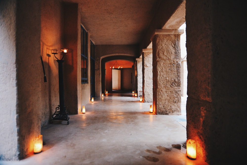 Candlelight corridor at Feynan Ecolodge.