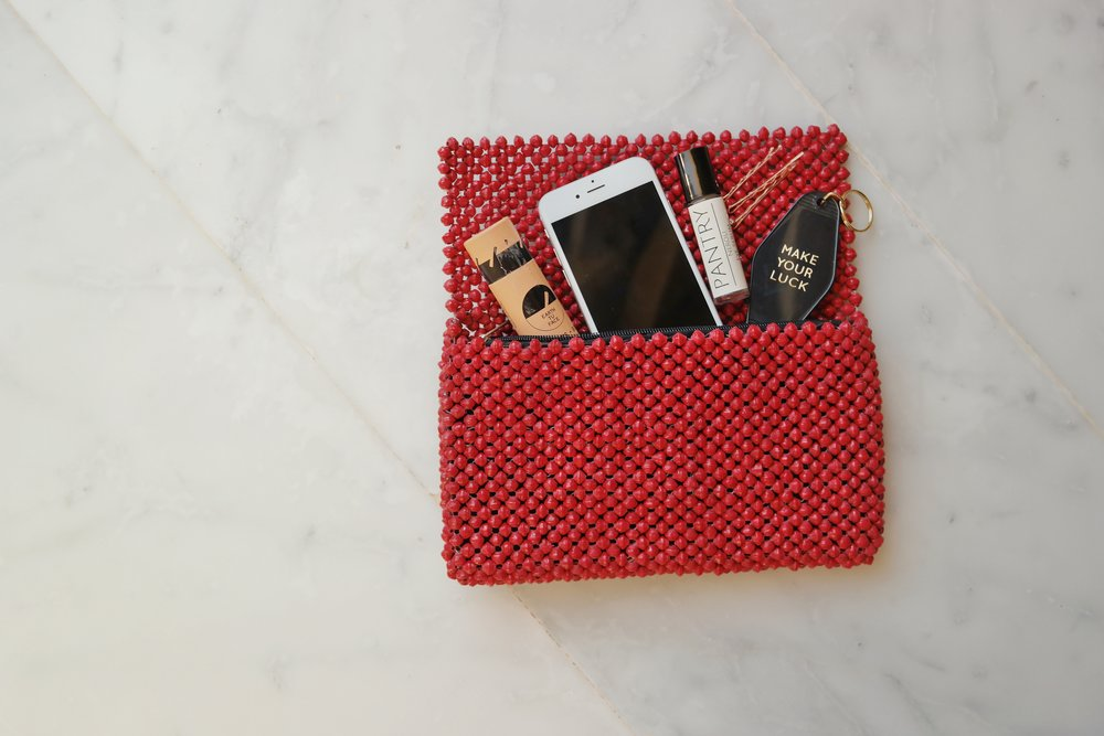 Cranberry Paper Beaded Clutch  , TO THE MARKET, $42.00