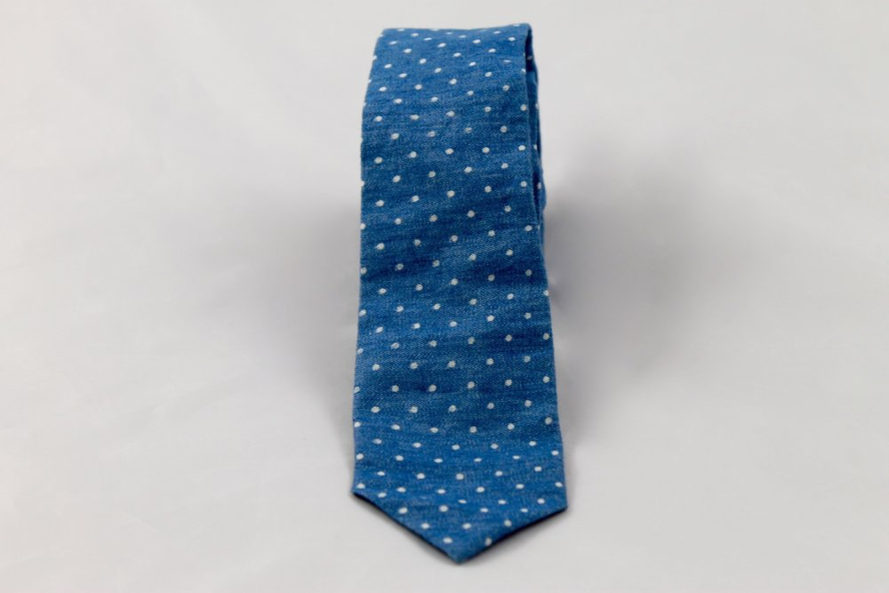 Dusty Blue Skinny with White Polka Dots by Lion's Thread, TO THE MARKET, $35.00