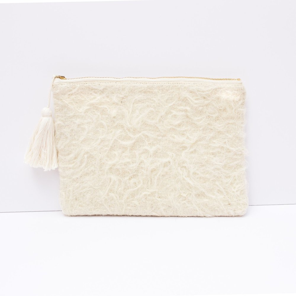 Chamula Shearling Clutch in White  ,  Proud Mary , $110.00