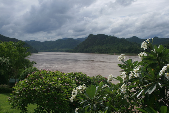 Frangipani trees line the Mekong River at the Grand Hotel in Luang Prabang