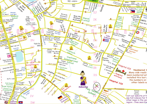 Check out this amazing falang map of Vientiane
