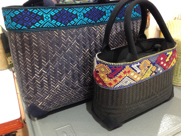 Rattan dyed and embroided bags