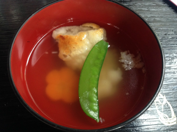 Sticky rice consomme with Japanese-imported orange. The broth was light yet salty; it was a surprisingly pungent dish.