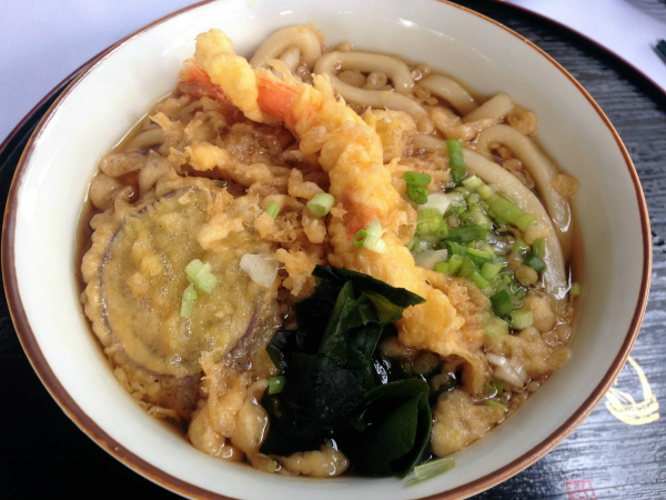 Tempura udon noodle soup - it's a classic and for good reason. A big bowl of thick noodles in a steaming broth with tempura prawn, mushrooms and another vegetable, maybe sweet potato. It was really good.