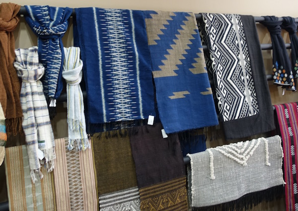 Beautiful handmade Lao cotton scarves, wall hangings, table runners and mats from Ma Te Sai
