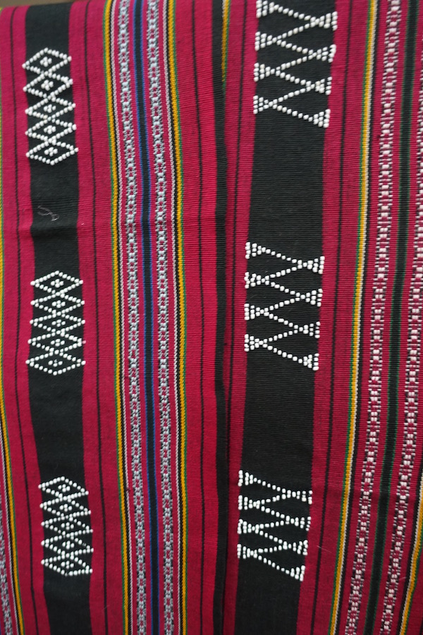 The iconic red woven patterns of the Katu tribe in southern Laos