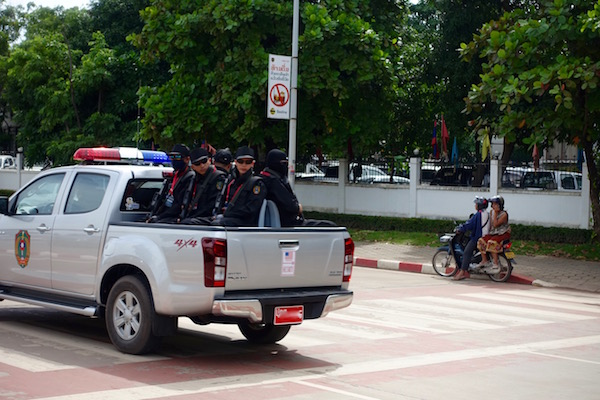 Motorcade security detail, ASEAN Fever | Eat Drink Laos http://eatdrinklaos.com/blog/asean-fever