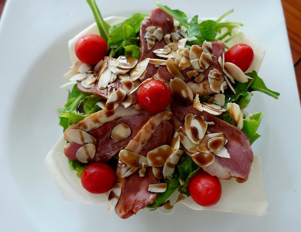 Rocket and smoked duck salad, with cherry tomatoes and shaved parmesan - heaven.