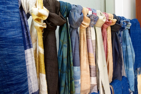 Stunning 100% handwoven silk and naturally dyed scarves at Houey Hong in Vientiane, Laos, a vocational training centre for women weavers | Eat Drink Laos http://eatdrinklaos.com/blog/vientiane-houey-hong