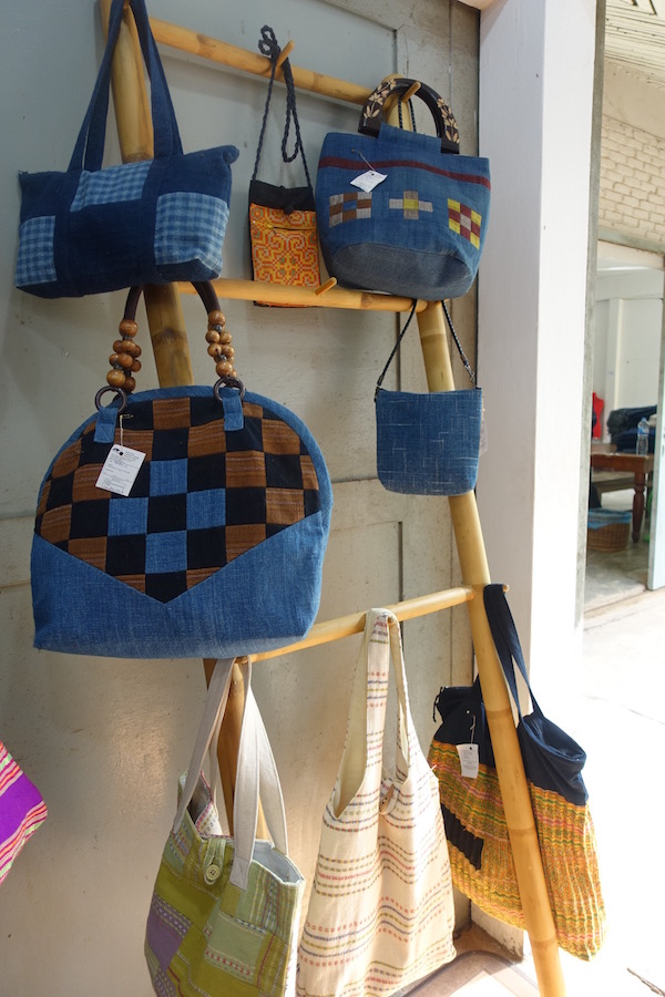 Colourful cotton handwoven bags at Houey Hong in Vientiane, Laos, a vocational training centre for women weavers | Eat Drink Laos http://eatdrinklaos.com/blog/vientiane-houey-hong