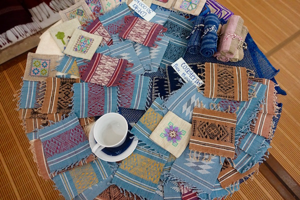 100% handwoven and naturally dyed Lao cotton coasters at Houey Hong in Vientiane, Laos, a vocational training centre for women weavers | Eat Drink Laos http://eatdrinklaos.com/blog/vientiane-houey-hong