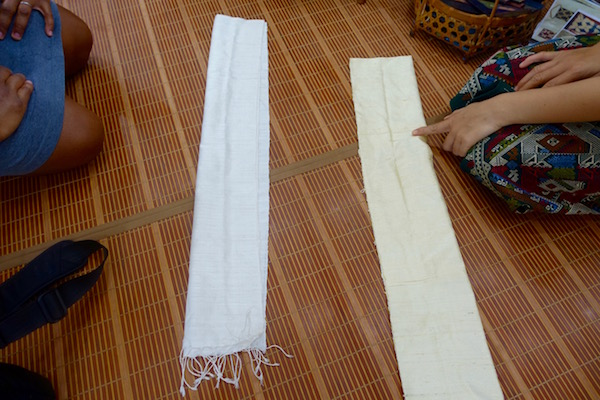 Choose from cream or white 100% handwoven silk Lao scarfs when you dye your own using natural Lao plants. An authentic Lao traditional weaving at Houey Hong in Vientiane, Laos, a vocational training centre for women weavers | Eat Drink Laos http://eatdrinklaos.com/blog/vientiane-houey-hong