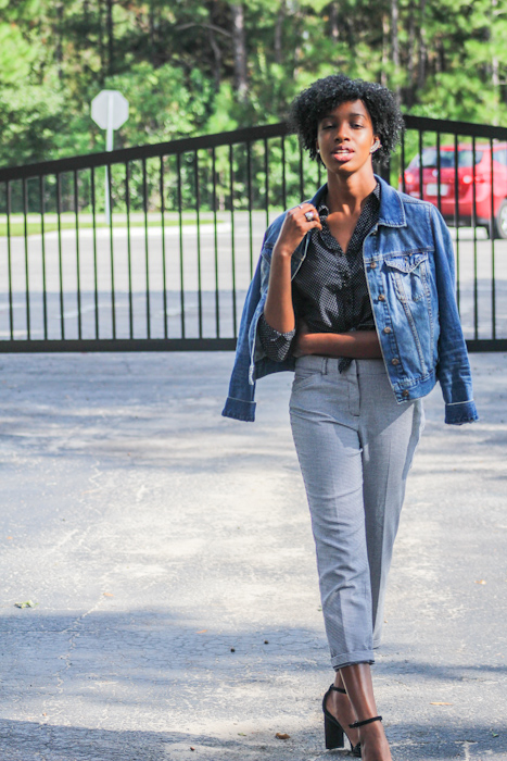 Add Something Casual: The most straight-forward way to do this may be to add denim, leather or light casual outerwear. Adding a denim or leather jacket or a casual jacket instantly brings a business casual down to a casual outfit.