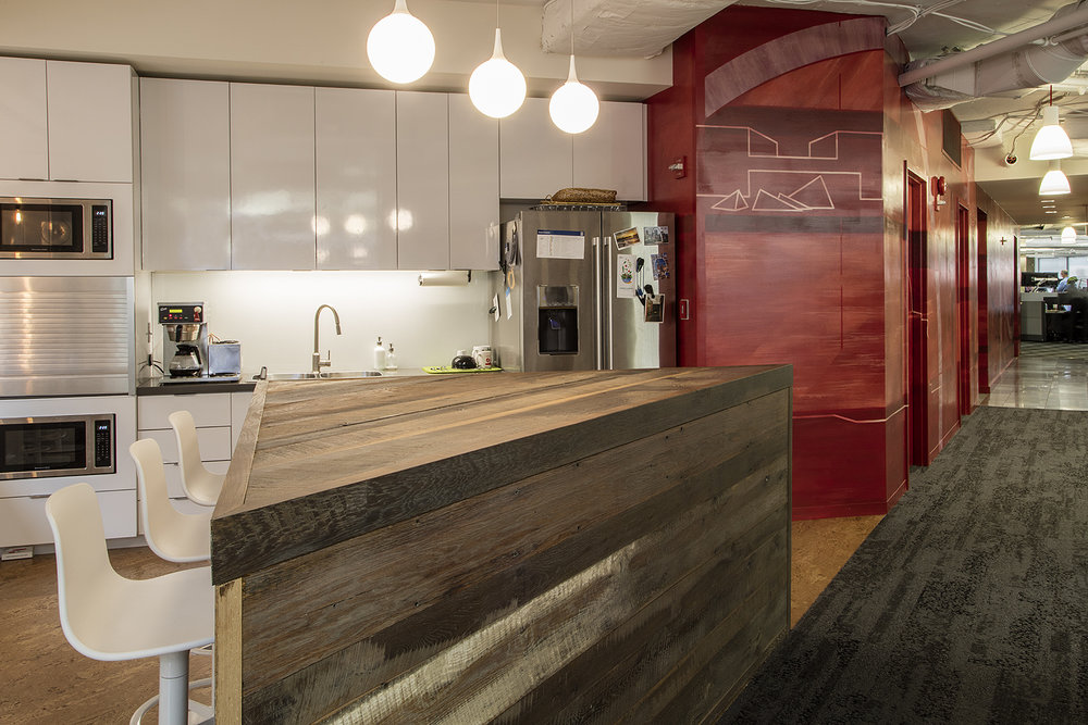 Photo: Alston Thompson Photography  Surface Architectural Supply sourced and finished the wood for the island in the kitchen at HKS Architects in Washington, DC.