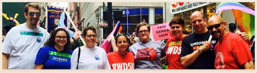 Pride at Work NYC/LI club members and officers beaming at the 2015 NYC Labor Day Parade.