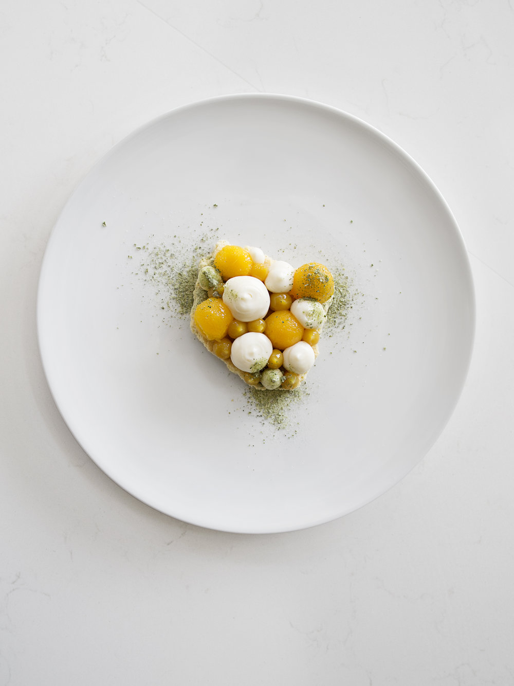 Buttermilk, mango, sablé and bay leaf.