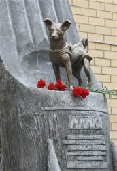 Laika's statue in Moscow