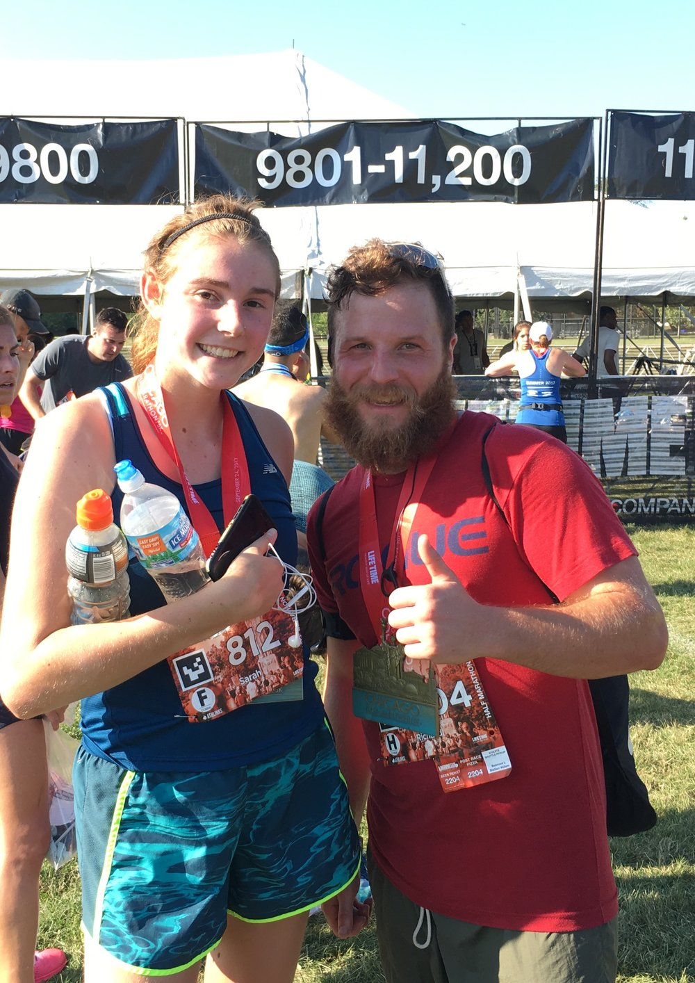 DePaul University students, Sarah Hamilton and Richard Lawson, at the finish line of the 2017 First Annual Starfish Dash fundraiser.