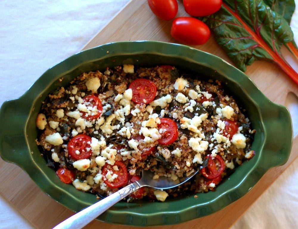Tomato & Chard Quinoa Bake