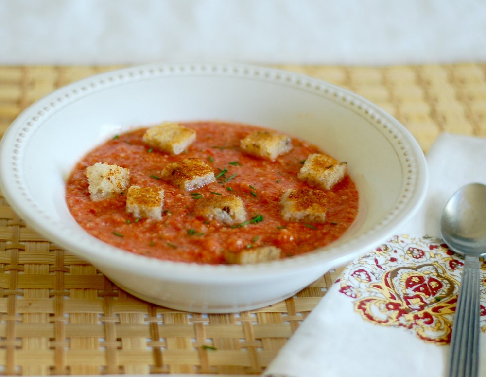 Gazpacho with Rye Bread Croutons