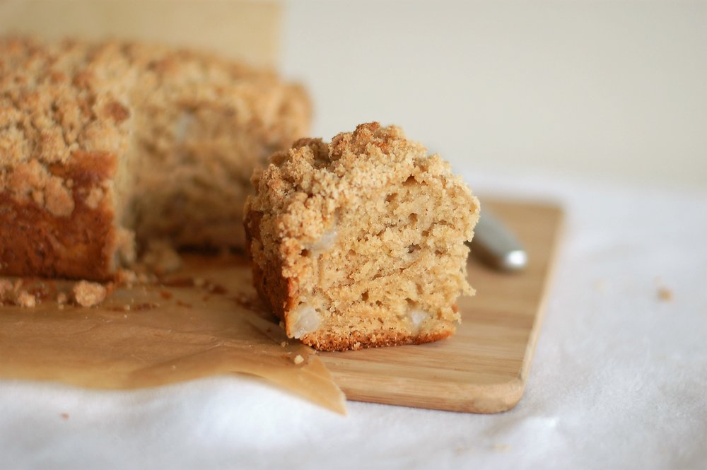 Spiced Pear Coffee Cake with Ginger Crumble