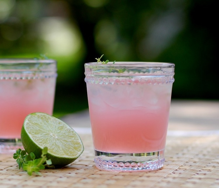Rhubarb Limeade with Thyme