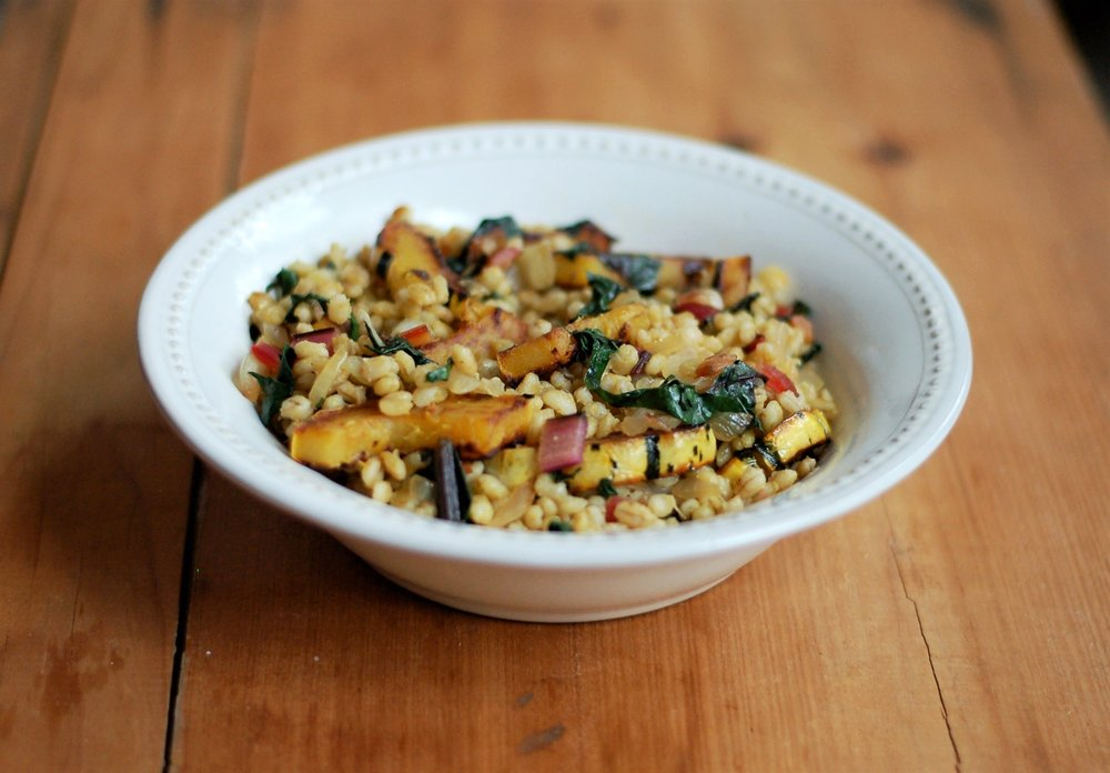 Barley with Squash and Swiss Chard