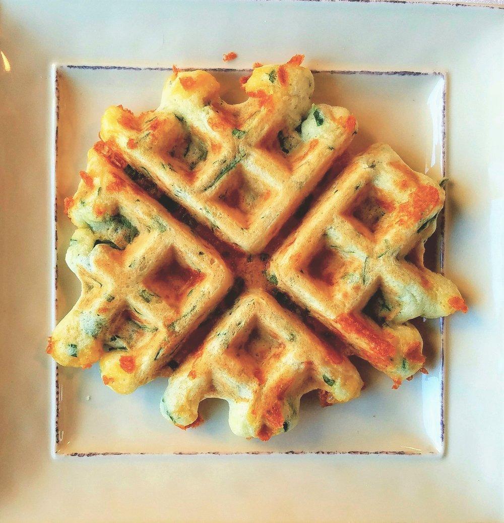 Spinach & Cheddar Waffles