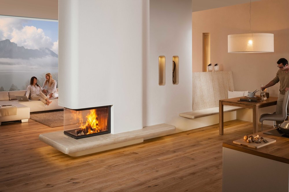 SPARTHERM ARTE U THREE-SIDED   WOODBURNING FIREPLACE   SERIES