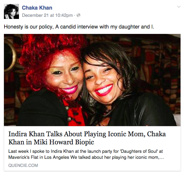 Chaka Khan's Facebook Post