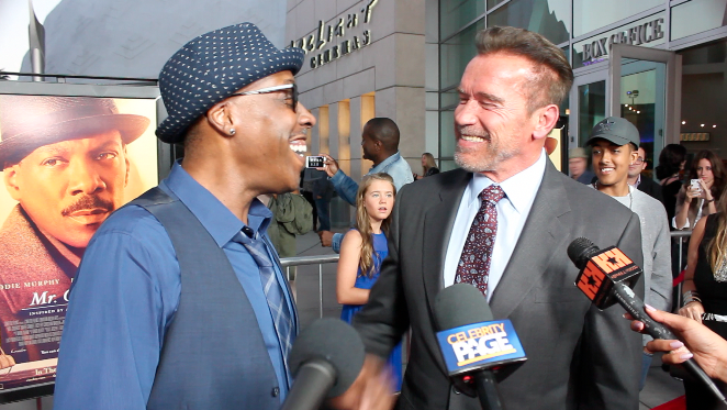 Arsenio Hall and Arnold Schwarzenegger