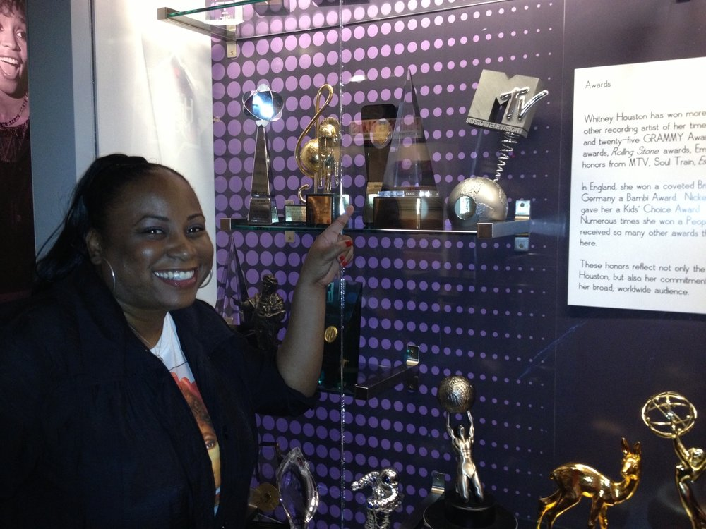 Whitney's display of awards at The Grammy Museum