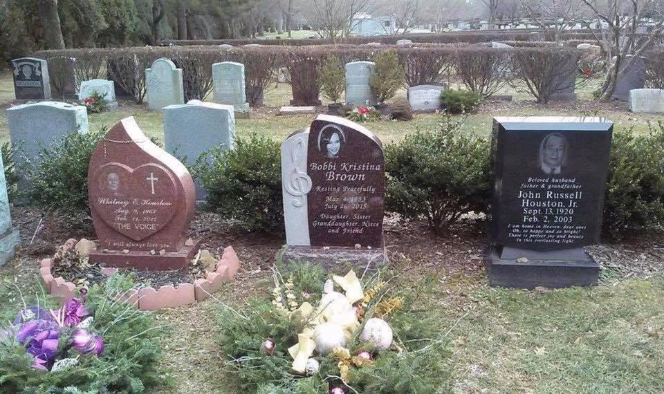 Whitney, Bobbi Kristina and John Houston (Whitney's dad) headstones