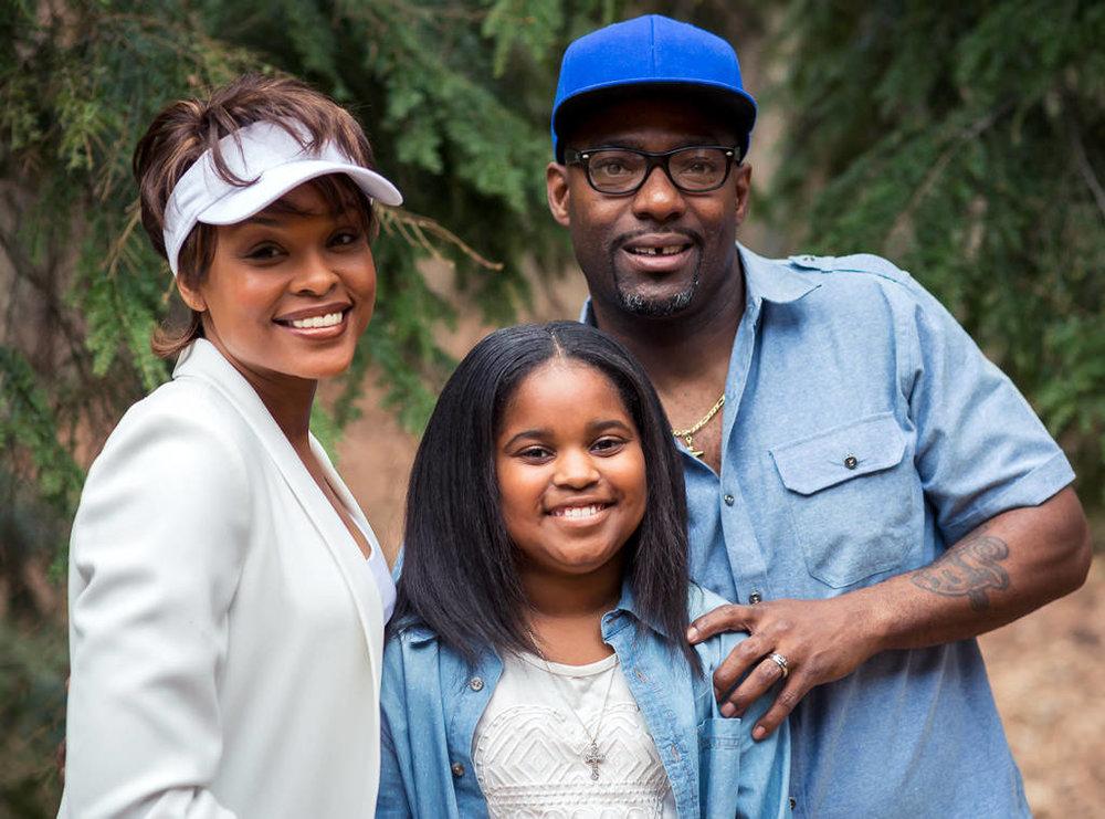 Demetria McKinney as Whitney,Hassan Johnson as bobby Brown and Joy Rovaris as Bobbi Kristina courtesy of TV One