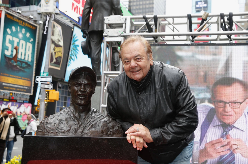 Paul Sorvino with his bust of Jackie RobinsonWireImage