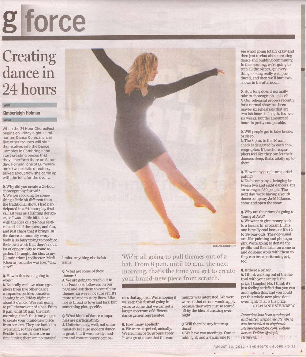 Boston Globe Q&A Feature, August 2012