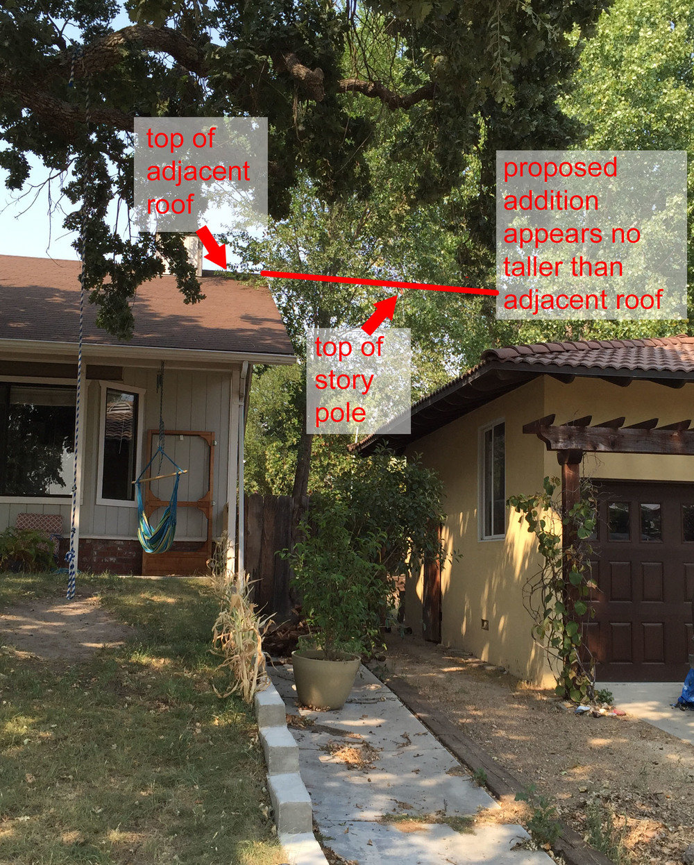Studying height of future 2-story addition (with flat roof) relative to adjacent home's roof.