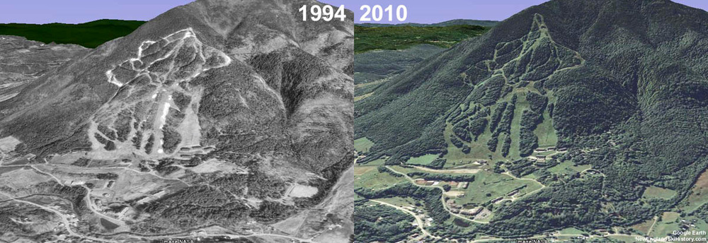 Aerial view showing before and after North Peak Quad expansion