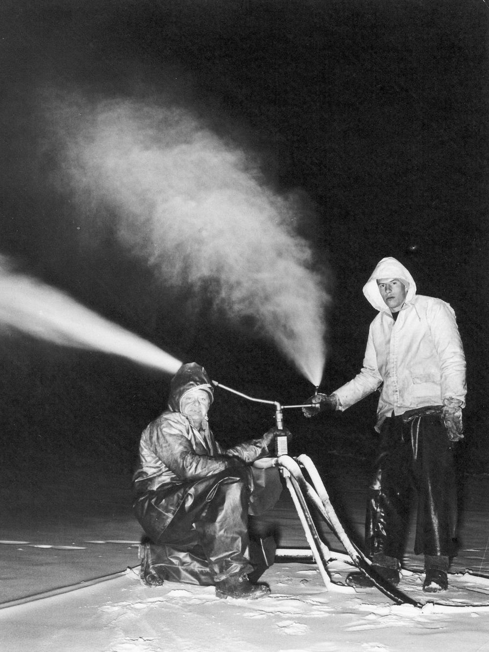 Bob Ely & Frank Brock snowmaking