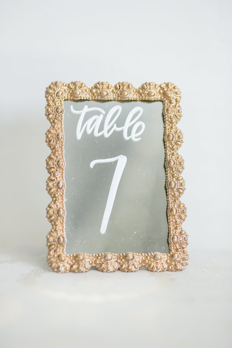 table numbers on gold mirrored frames - Mirrored Frames