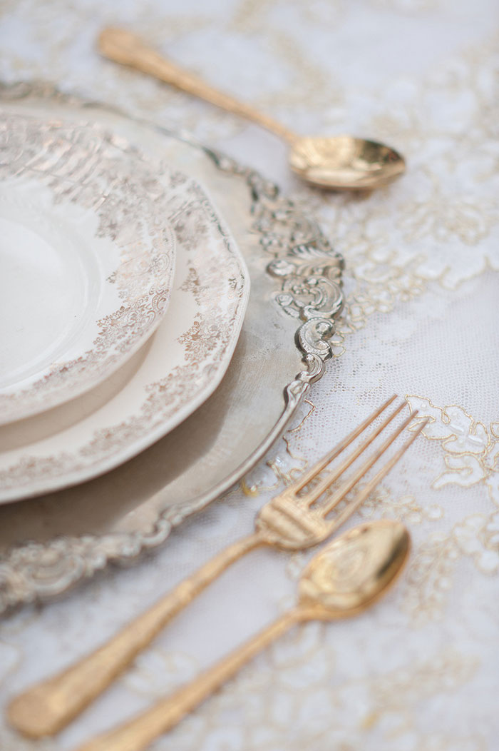 Sweetheart Table: Our  Antique Gold Platter  and  Penelope Flatware