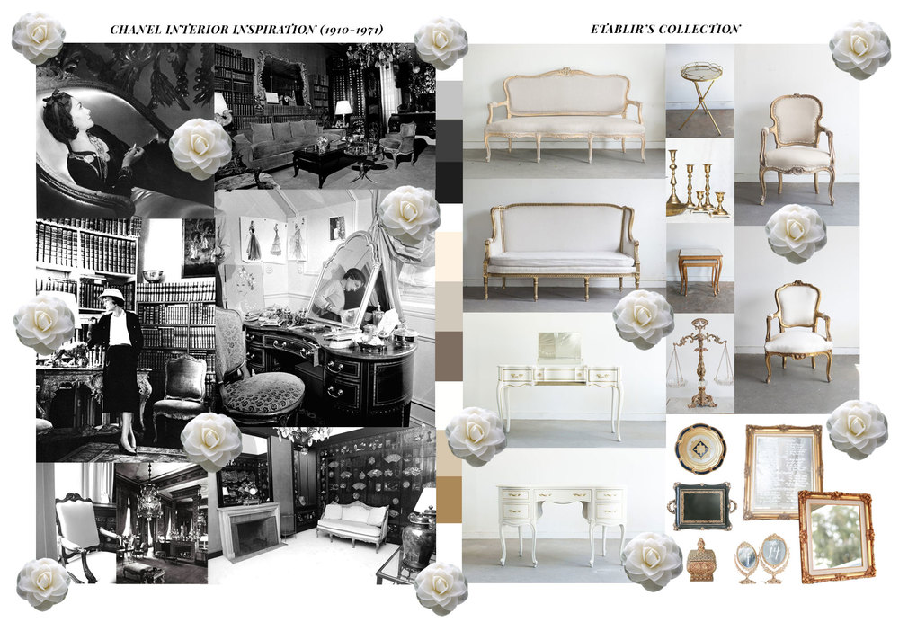 Etablir's Collection Pieces. From left to right: Fayette Settee, Josephine End Table, Gabrielle Chairs, Elizabeth Settee, Brass Candle Holders, Celine End Tables, Rochelle Chairs, Claire Vanity Table, Francis Scale, Isabelle Table, Jacques Florentine Tray, Pierre Mirror, Lorraine Tray, Constance Holder, Bella Vanity Table Mirrors, and Rosette Mirror.