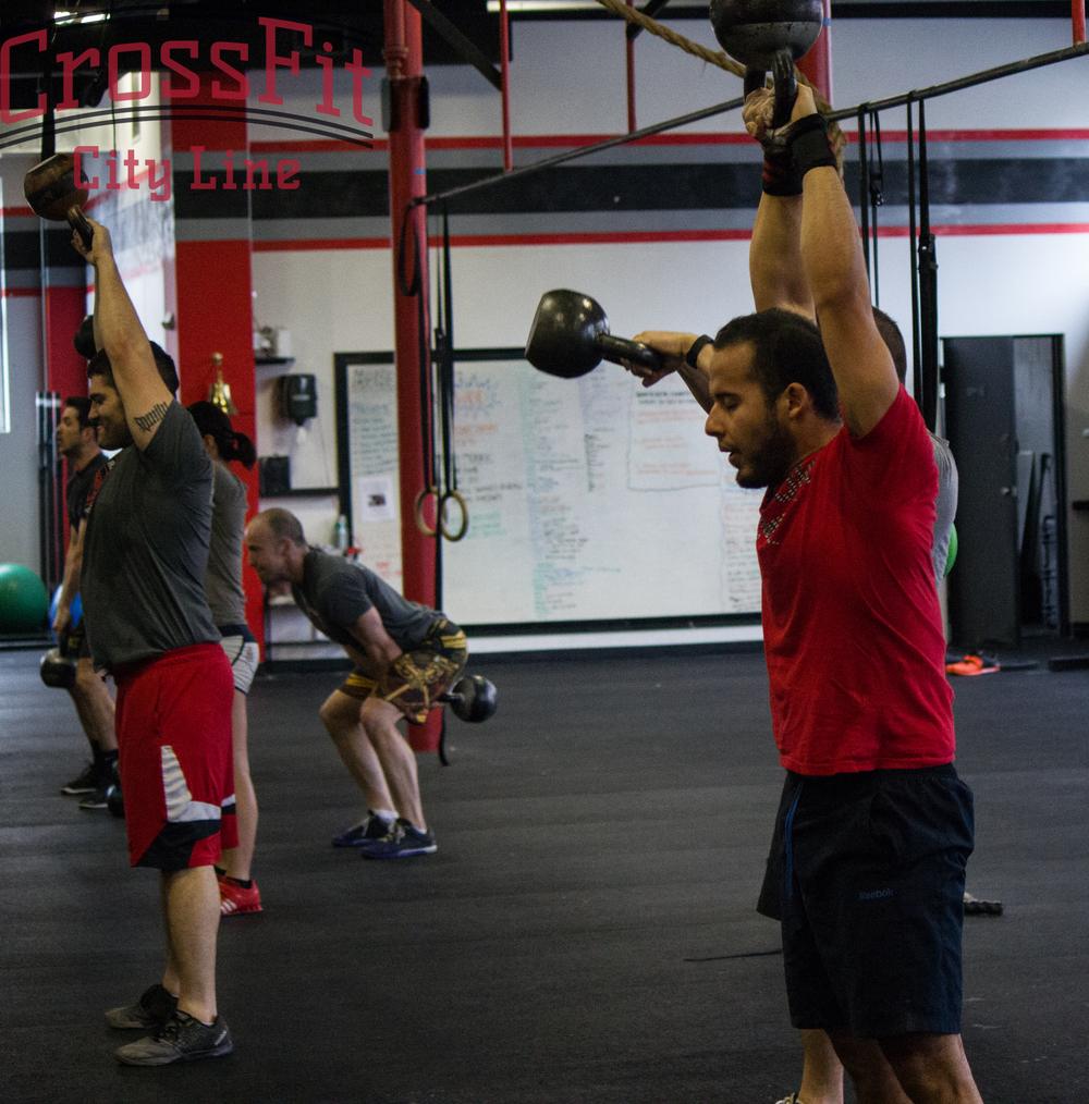 Ruben showing a great finish position during kettlebell swings