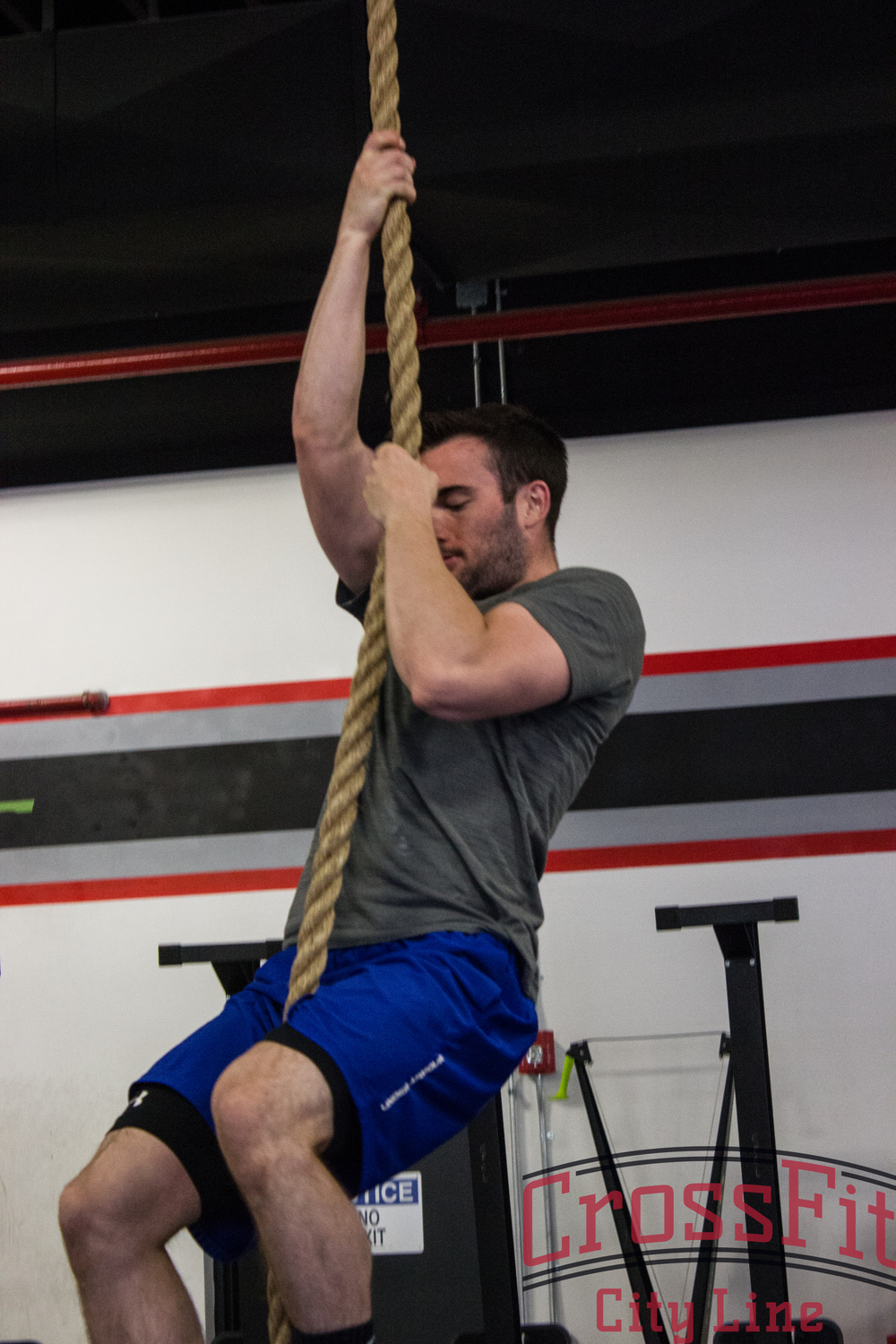"Derek working on rope climbs during last weeks ""Goals Day"""
