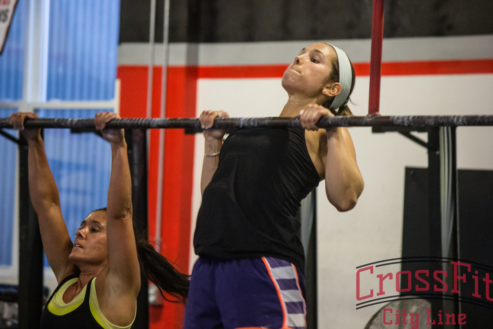 Sarah and Caitlin rep out chest to bar pull-ups