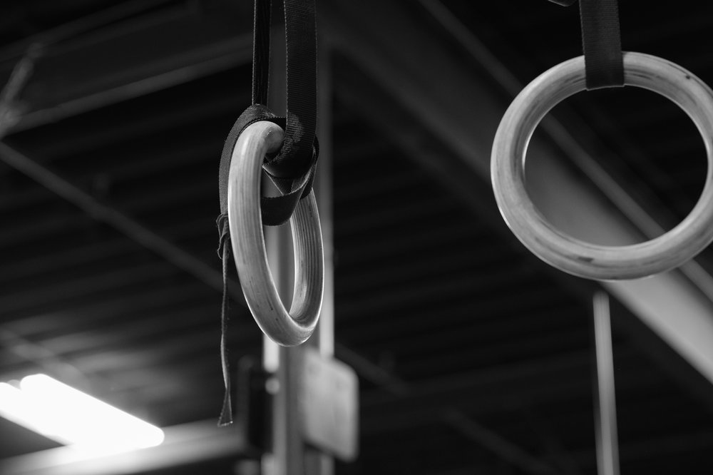 From below the rings, to a position of support above the rings...The Muscle Up.