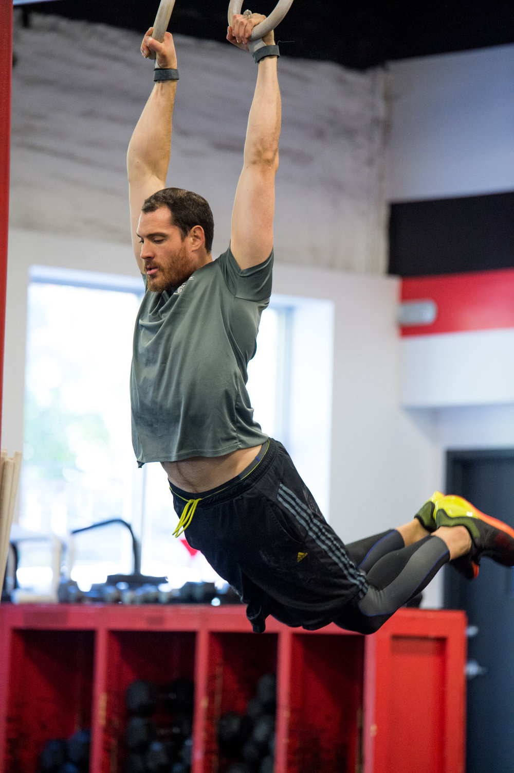 """The muscle-up gets you from under things to on them. It can be a critical survival skill. We do our muscle-ups from rings chiefly because that's the hardest place possible."" - Greg Glassman,   The Muscle Up"