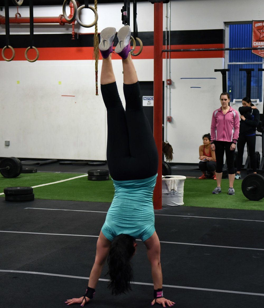 Balance and stability are required for the handstand walk!