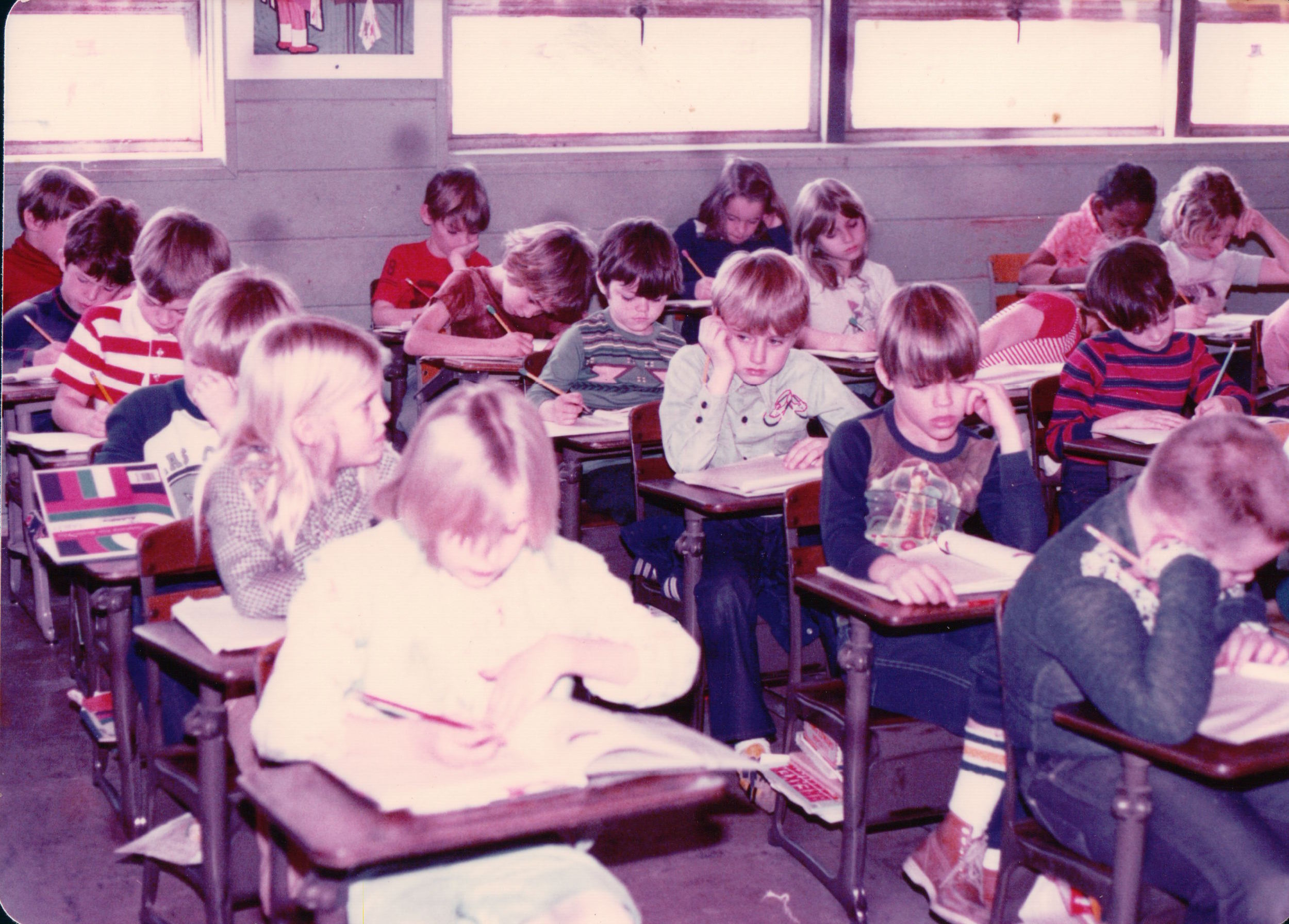Mrs. Slaughter's second grade class, 1977-78. I am the blonde on the left, looking at the boy to the right. Mrs. Slaughter did not like me at all. My mom says I had stomach trouble the entire year. I'll take her word for it.